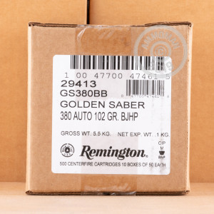 An image of .380 Auto ammo made by Remington at AmmoMan.com.