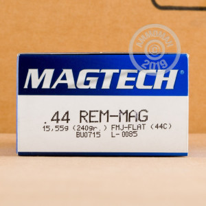 A photo of a box of Magtech ammo in 44 Remington Magnum.