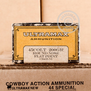 A photo of a box of Ultramax ammo in .45 COLT.