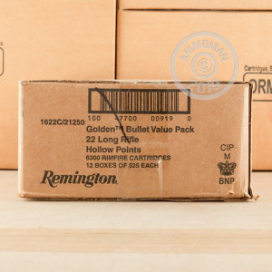A photograph of bulk .22 Long Rifle ammo made by Remington at AmmoMan.com.