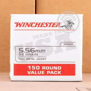 Image of the 5.56X45 WINCHESTER USA 55 GRAIN FMJ (150 ROUNDS) available at AmmoMan.com.