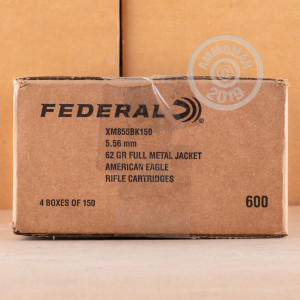 Photo detailing the 5.56 NATO FEDERAL LAKE CITY M855 BALL 62 GRAIN FMJ (600 ROUNDS) for sale at AmmoMan.com.