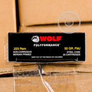 Photograph showing detail of 223 REM WOLF WPA 55 GRAIN FMJ (500 ROUNDS)