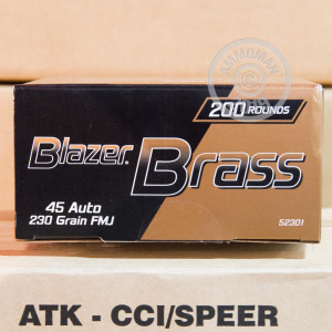 Image of .45 Automatic ammo by Blazer Brass that's ideal for training at the range.
