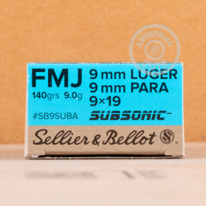 A photograph detailing the 9mm Luger ammo with FMJ bullets made by Sellier & Bellot.