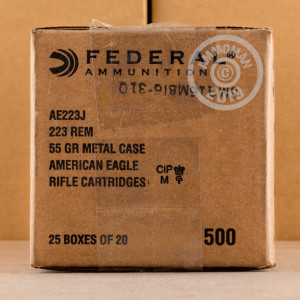 Photo detailing the 223 REM FEDERAL AMERICAN EAGLE 55 GRAIN FMJ (20 Rounds) for sale at AmmoMan.com.