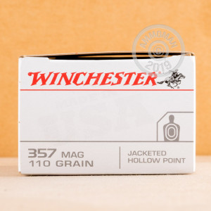 A photograph of 500 rounds of 110 grain 357 Magnum ammo with a JHP bullet for sale.