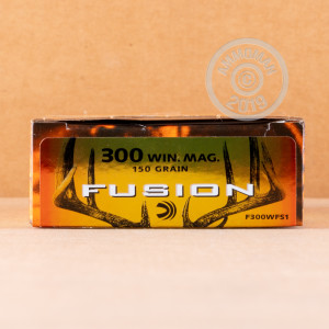 A photograph detailing the 300 Winchester Magnum ammo with Fusion bullets made by Federal.