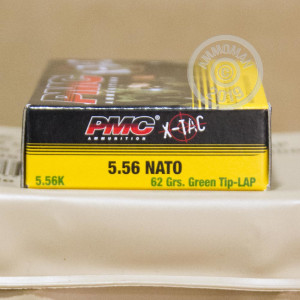 Photograph showing detail of 5.56X45 PMC X-TAC BATTLE PACK 62 GRAIN FMJ GREEN TIP (120 ROUNDS)