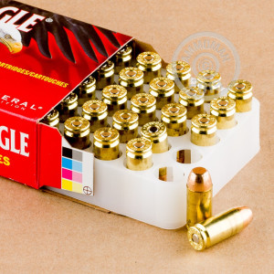 Image detailing the brass case and boxer primers on the Federal ammunition.