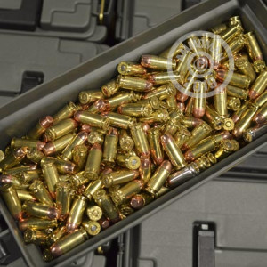 A photograph detailing the bulk .40 Smith & Wesson ammo with Unknown bullets made by Mixed and commonly used for training at the range.