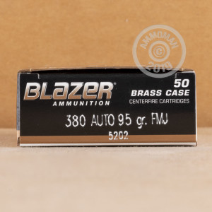 Image of .380 Auto ammo by Blazer Brass that's ideal for training at the range.