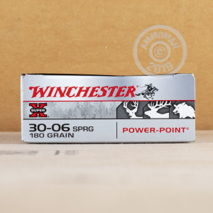 Image of 30.06 Springfield ammo by Winchester that's ideal for big game hunting, hunting wild pigs, whitetail hunting.