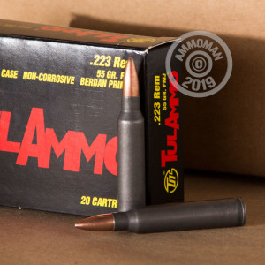 Photo detailing the 223 REMINGTON TULA AMMO TIN 55 GRAIN FMJ (500 ROUNDS) for sale at AmmoMan.com.