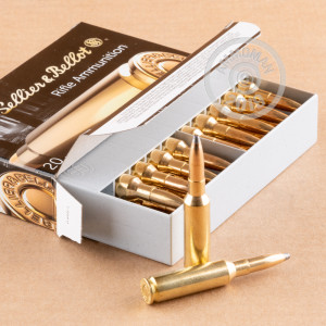 A photograph detailing the 6.5MM CREEDMOOR ammo with soft point bullets made by Sellier & Bellot.