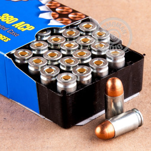 A photograph detailing the .380 Auto ammo with FMJ bullets made by Silver Bear.