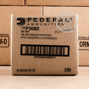 308 WIN FEDERAL 180 GRAIN NOSLER PARTITION SP (20 ROUNDS)