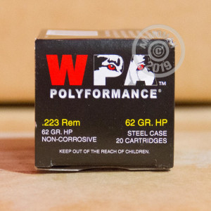 Photo detailing the 223 REM WOLF POLYFORMANCE 62 GRAIN HOLLOW POINT (500 ROUNDS) for sale at AmmoMan.com.
