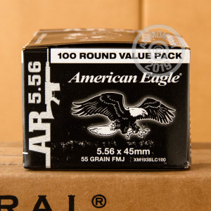 Photograph showing detail of 5.56 NATO FEDERAL AMERICAN EAGLE LAKE CITY M193 BALL 55 GRAIN FMJ (100 ROUNDS)