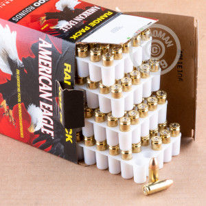 A photograph of 200 rounds of 115 grain 9mm Luger ammo with a FMJ bullet for sale.