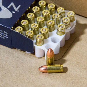 A photograph of 50 rounds of 124 grain 9mm Luger ammo with a TMJ bullet for sale.