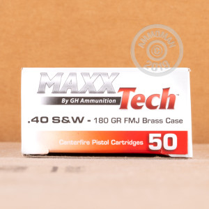 Image of .40 Smith & Wesson ammo by MaxxTech that's ideal for training at the range.