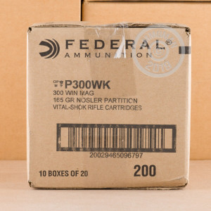 Image of 300 Winchester Magnum ammo by Federal that's ideal for big game hunting, whitetail hunting.