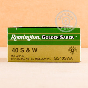 A photograph of 500 rounds of 165 grain .40 Smith & Wesson ammo with a JHP bullet for sale.