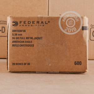 Image of 5.56 FEDERAL AMERICAN EAGLE 55 GRAIN FMJ (600 ROUNDS)