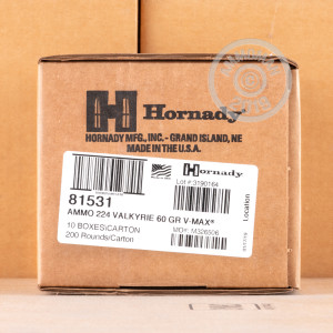 Image of Hornady .224 Valkyrie rifle ammunition.