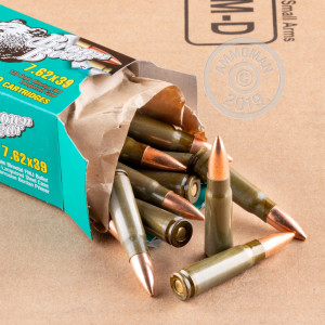 Image of Brown Bear 7.62 x 39 rifle ammunition.