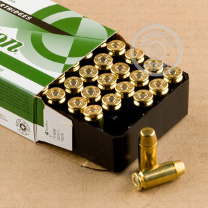 Image of .40 Smith & Wesson ammo by Remington that's ideal for training at the range.