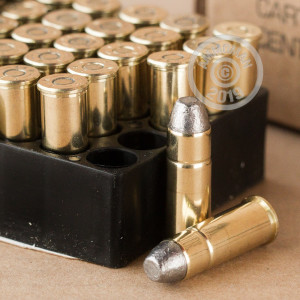 A photograph of 50 rounds of 200 grain 44-40 WCF ammo with a Lead Flat Nose bullet for sale.