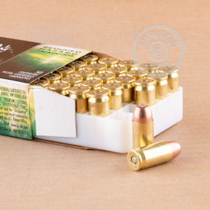 A photograph detailing the .45 Automatic ammo with frangible bullets made by Federal.