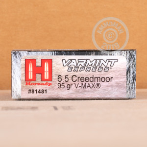 Photo detailing the 6.5MM CREEDMOOR HORNADY VARMINT EXPRESS 95 GRAIN V-MAX (200 ROUNDS) for sale at AmmoMan.com.