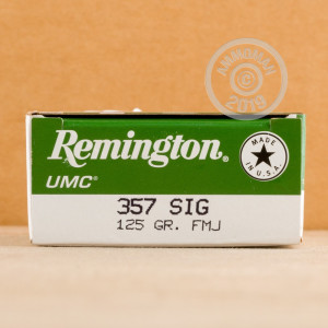 A photo of a box of Remington ammo in 357 SIG.