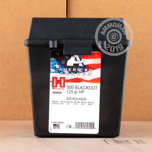 Photo detailing the 300 AAC BLACKOUT HORNADY AMERICAN GUNNER 125 GRAIN HP IN FIELD BOX (200 ROUNDS) for sale at AmmoMan.com.