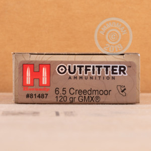 Image of the 6.5MM CREEDMOOR HORNADY OUTFITTER 120 GRAIN GMX (20 ROUNDS) available at AmmoMan.com.
