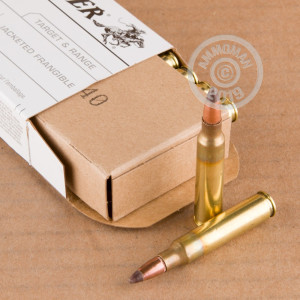 A photograph detailing the 5.56x45mm ammo with frangible bullets made by Winchester.