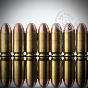 A photograph of 50 rounds of 230 grain .45 Automatic ammo with a TMJ bullet for sale.