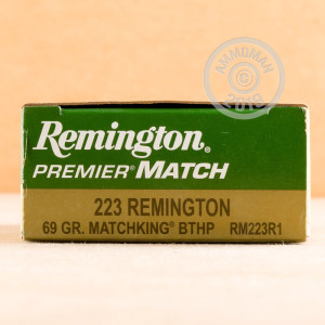 A photograph detailing the 223 Remington ammo with Hollow-Point Boat Tail (HP-BT) bullets made by Remington.