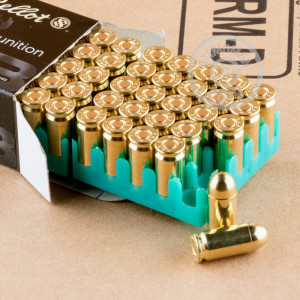 A photograph of 50 rounds of 95 grain 9x18 Makarov ammo with a FMJ bullet for sale.