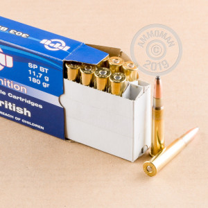 A photograph detailing the 303 British ammo with soft point bullets made by Prvi Partizan.