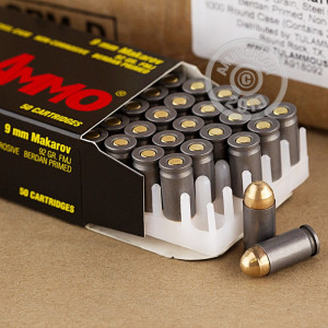 An image of 9x18 Makarov ammo made by Tula Cartridge Works at AmmoMan.com.