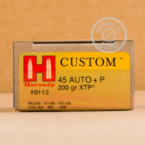 Image of Hornady .45 Automatic pistol ammunition.