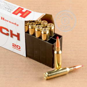 Photograph showing detail of 6.5 CREEDMOOR HORNADY 120 GRAIN ELD MATCH (20 ROUNDS)