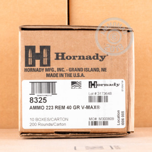 Image of the .223 REMINGTON HORNADY V-MAX 40 GRAIN JHP (200 ROUNDS) available at AmmoMan.com.