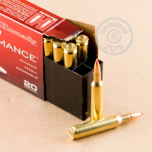 Photo detailing the 6MM REMINGTON HORNADY SUPERFORMANCE 95 GRAIN SST (200 ROUNDS) for sale at AmmoMan.com.