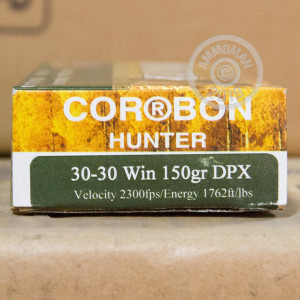 A photograph of 20 rounds of 150 grain 30-30 Winchester ammo with a DPX bullet for sale.