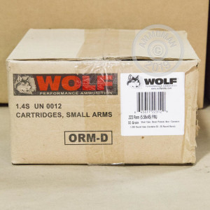 Image of the .223 REMINGTON WOLF 55 GRAIN FULL METAL JACKET (1000 ROUNDS) available at AmmoMan.com.